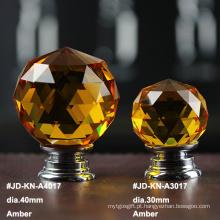 Botão de cristal âmbar de 40 mm para móveis brancos