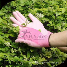 SRSAFETY pink color pu gloves/13ga polyester PU palm coated ladies work glove