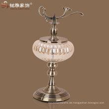 hochwertiges neues Design Kürbis Form Glas Vase mit Metall stehen