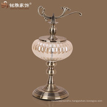 high quality new design pumpkin shape glass vase with metal stand
