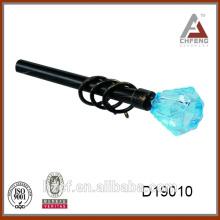 D19010 crystal end curtain rods/glass curtain finial/black curtain pole 16/19mm extendible curtain pole painted
