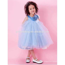 Scoop Ball Gown Beautiful Cheap Sleeveless Tea-length Sky Blue Tulle With Flowers Flower Gir Dress D4
