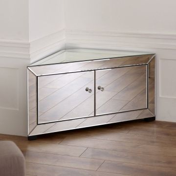 Venetian Mirrored Corner TV-Schrank