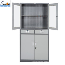 Half glass half steel door office furniture storage cabinet designs