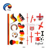 2018 banderas nacionales de la bandera nacional de la bandera del tatuaje etiqueta engomada temporal del cuerpo de los deportes del tatuaje