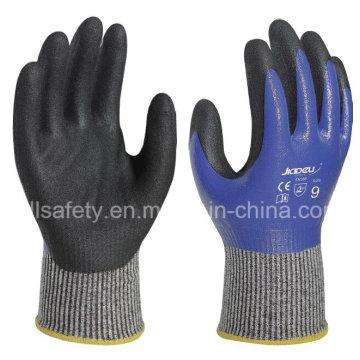 Capa completamente resistente al corte trabajo guante con nitrilo Dopping (ND6516)