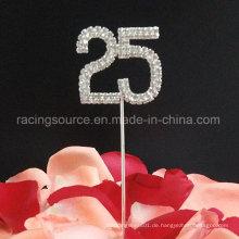 25. Nummer Silber Hochzeitstag Rhinestone Kuchen Topper für Hochzeit Dekoration