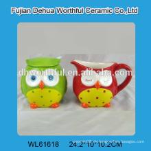 Keramik-Eulen-Zucker und Sahne-Set mit Löffel für Großhandel