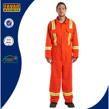 Mens Cotton Orange High Visibility Safety Coveralls