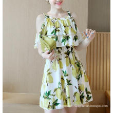 Summer Sleeveless Fresh Lemon Lovely Girl′s Dress