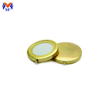 Miroir de maquillage en paquet pliable en or personnalisé en métal