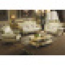 Conjunto de móveis de sala de estar com conjunto de sofá de couro de madeira (533)