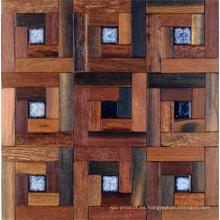 Panel de pared desigual del fondo de la decoración interior del mosaico de madera del barco viejo