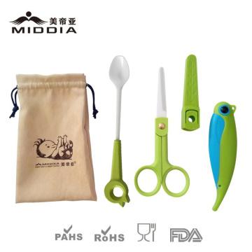 Baby waren für keramische Essen Werkzeug Set Tools Messer Schere Löffel füttern