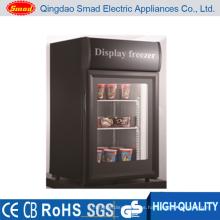 Mini congelador vertical de puerta de vidrio para uso doméstico de pequeña capacidad