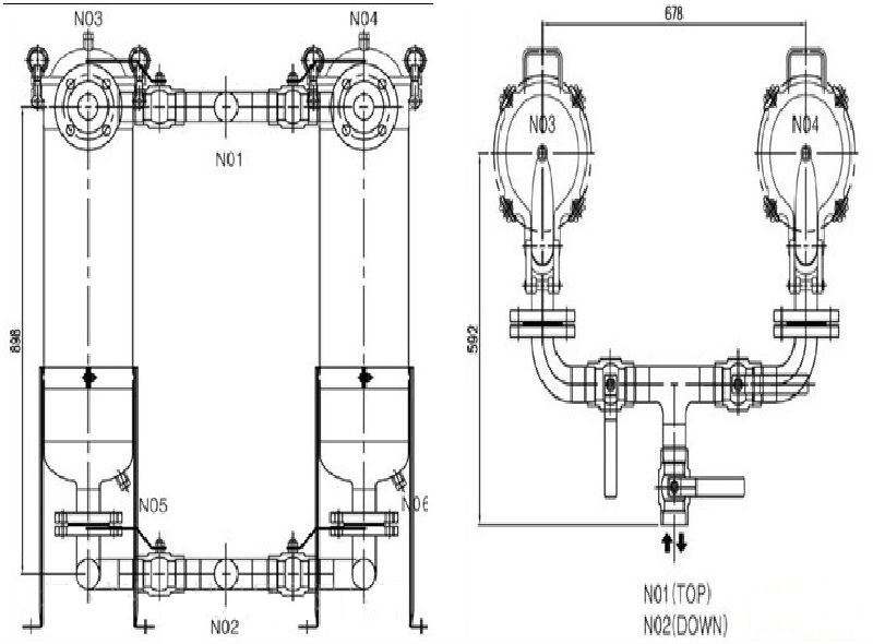Drawing of Duplex Filter Housings
