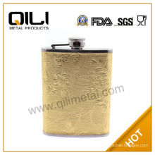 stainless steel needlework chinese hip flask for collection