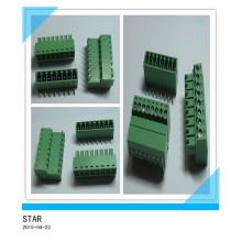 Pino do ângulo 8 de 3.5mm / tipo tipo conectável verde conector do bloco terminal de parafuso