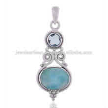 Ларимар И Голубой Топаз Gemstone Стерлингового Серебра 925 Подвеска