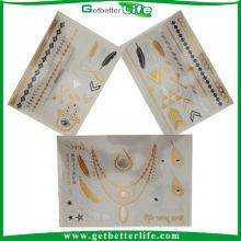 Getbetterlife profissional de ouro e prata moda metálicas personalizadas tatuagens temporárias