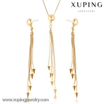 63656-Xuping neuer moderner Schmuck 18K Gold überzogener heißer Verkauf Kupferlegierungs-Schmucksache-Satz