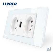 Livolo Бразильский / Итальянский Стандарт 3Pins 10A + USB-разъем C9-C2UBR1-11