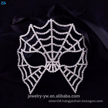 Wholesale crystal party masquerade masks, scary spider web halloween mask
