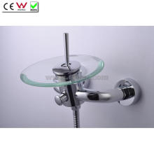 Round Glass Spout Waterfall Wall Mounted Bath Tap Faucet (QH0811W)