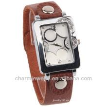 Nuevo reloj de cuero de la voga del cuarzo de Brown del hombre del reloj de la señora de la llegada