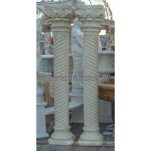 Pilar romano decorativo com pedras de mármore granito arenito (QCM137)