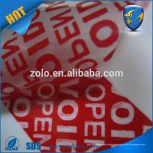 Tamper Evident vazio selo de segurança Etiqueta Etiqueta fita customizável LOGO deixa o texto, tamper evidente fita de vedação de segurança