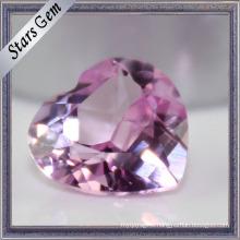 Brilliant Cut Heart Shape Synthetic Ruby Gemstone