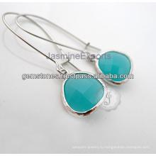 Индийский дизайнер красивый полудрагоценных драгоценных камней 925 серебро Установка Шатона долго падение серьги для Рождественский подарок