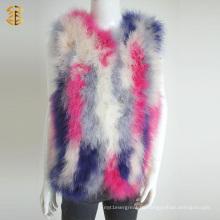 Neue modische gestrickte Frauen bunte Feder Pelz Weste für Mädchen