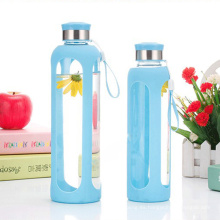 Botella de cristal de agua respetuosa del medio ambiente, botella de silicona del deporte