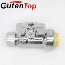GutenTop High Quality1/4 Turn Angle Stop for Push-Fit Valve with 1/2 Inch Push x 3/8 Inch Compression Chrome Plated