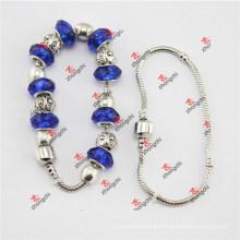 Moda azul contas de vidro serpente pulseiras cadeia presentes (soe60229)