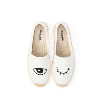 English letter embroidery patch women flat canvas shoes