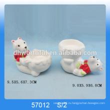 2016 новых рождественских предметов, керамические рождественские подсвечники с медвежьей статуэткой для оптовой продажи