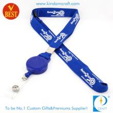 Wholesale Customized Logo Tubular Screen Printed Lanyard with Reel Badge From China