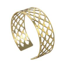 Brazaletes del pun ¢ o del acero inoxidable del chapado en oro de la manera con las redes para los hombres, RD-1134