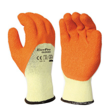 10G 5yarn (21s) Cotton Liner Latex Crinkle Half Coated PPE Safety Gloves