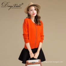 50% чистый кашемир женщин оранжевый цвет молния кардиган шерстяной свитер от Эрдеша