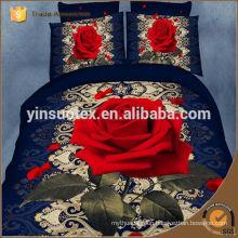 hot sale wholesale 100% poly fantastic red rose printed tender 3D bedding set