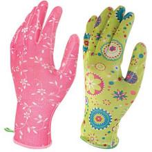 Leichte, atmungsaktive, bedruckte Nitril-beschichtete Gartenhandschuhe für Frauen