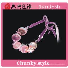 винтажный ручной работы модный заявление драгоценный камень красочные бисера кристалл обалденный розовый мода девушки ювелирные изделия большой коренастый ожерелья оптом