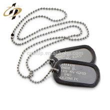 En gros pas cher en vrac En Aluminium matériel personnalisé design collier militaire en métal chien tag collier