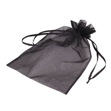 black customized size small organza drawstring pouch
