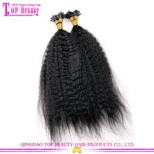Циндао 100% девственницы индийские kinky прямая кератин совет человеческих волос расширений