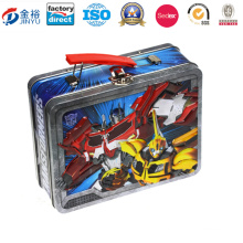 Wholesale Metal Gift Box Packaging Custom Tin Lunch Box with PVC Window and Plastic Handle